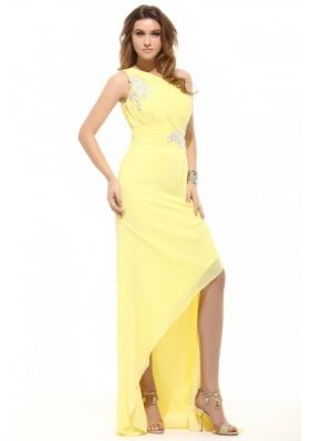 Column  One Shoulder Light Yellow Appliques Ruching Prom Dress