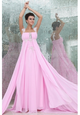 Empire Straps Rose Pink Appliques and Ruching Chiffon Prom Dress