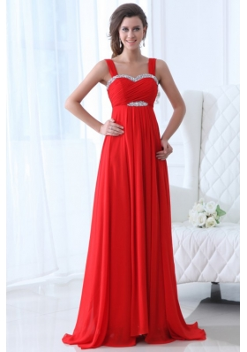 Elegant Empire Straps Beading Chiffon Red 2014 Prom Dress