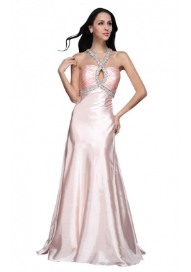 A-line V-neck Beading Side Zipper Long Prom Dress in Baby Pink