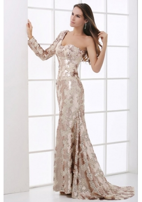 Champagne One Shoulder Lace Long Sleeve Prom Dress with Sequins