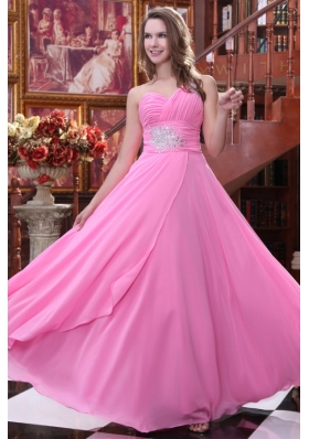 Empire Rose Pink One Shoulder Beading and Ruching Chiffon Prom Dress