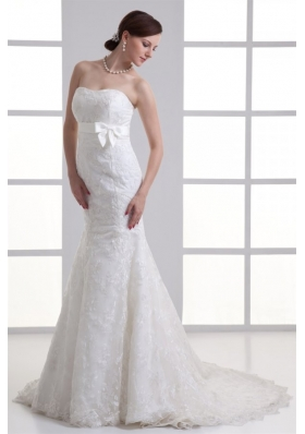 Mermaid Sash Sweetheart Lace Brush Train Wedding Dress