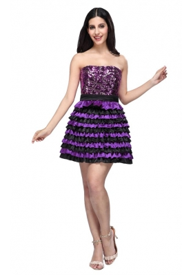 Multi-color Strapless A-line Ruffled Layers Sequins Knee-length Prom Dress