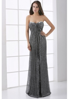 Sweetheart Silver and Black Empire Floor-length Sequins Prom Dress