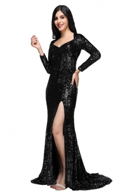 Column Black Square Long Sleeves Sequins High Slit Brush Train Prom Dress