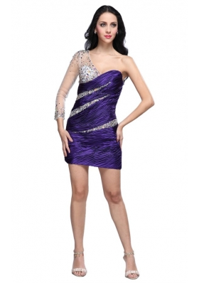 Column Eggplant Purple One Shoulder Long Sleeves Beading Mini-length Prom Dress