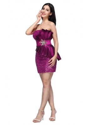 Column Fuchsia Strapless Sequins Ruching Short Prom Dress
