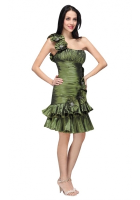 Column Olive Green One Shoulder Hand Made Flower Ruching Prom Dress