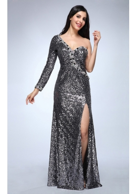 Column Silver One Shouder Long Sleeves Strapless High Slit Sequins Prom Dress