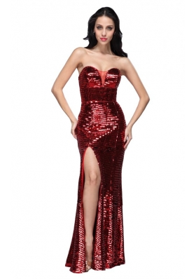Column Sweetheart Wine Red Sequins High Slit Prom Dress