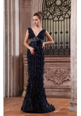 Column V-neck Navy Blue Brush Train Sequins Beading Prom Dress