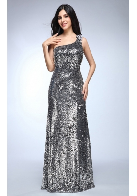 Sheath Silver One Shoulder Sequins Beading Floor-length Prom Dress