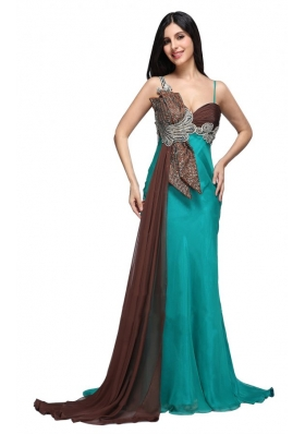 Teal Blue Spaghetti Straps Beading and Ruching Watteau Train Prom Dress