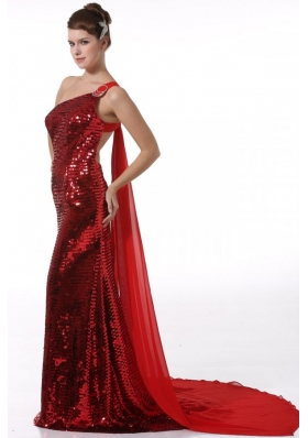 Column One Shoulder Wine Red Watteau Train Seuqin Prom Dress