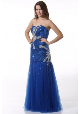 Column Sweetheart Blue Prom Dress with Beading and Sequins