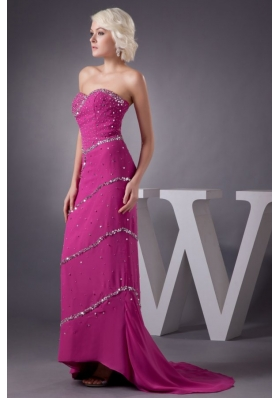 Fuchsia Column Sweetheart Chiffon Brush Train Beading Prom Dress