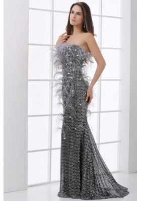 Mermaid Black Festher Strapless Sequins Brush Train Prom Dress