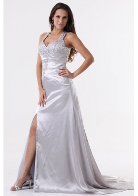 Watteau Train Silver Straps High Slit Prom Dress with Beading