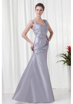 Grey Column Straps Taffeta Beading and Ruching Prom Dress