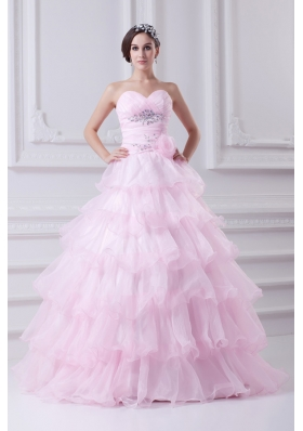 Ball Gown Strapless Beading Appliques Baby Pink  Quinceanera Dress
