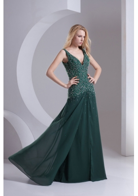 Column V-neck Chiffon Beading Dark Green Prom Dress