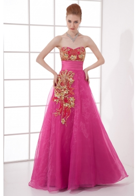 A-line Chiffon Floor-length Hot Pink Appliques Belt Prom Dress