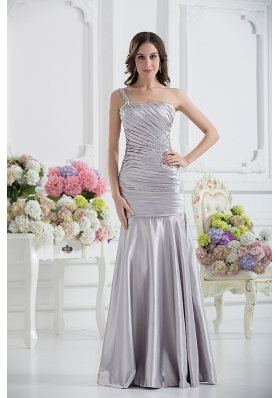A-line One Shoulder Satin Beading and Ruching Prom Dress in Silver