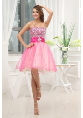A-line Pink Strapless Beading Tulle Knee-length Prom Dress
