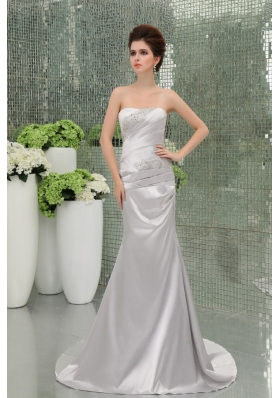 A-line Strapless Sashes and Beadings Floor-length Silver Prom Dress