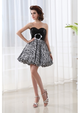 A-line Sweetheart Sleeveless Mini-length Prom Dress with Hand Made Flower