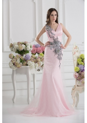 Column Straps Lace Appliques Ruching Baby Pink Lace Prom Dress