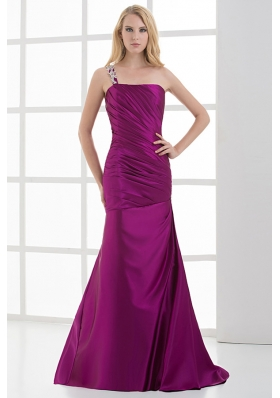 Mermaid Fuchsia One Shoulder Brush Train Beading Taffeta Ruching Prom Dress