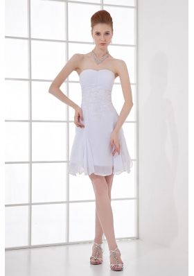 Simple Empire Sweetheart Mini-length Chiffon Wedding Dress with Ruching and Appliques