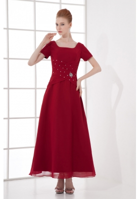 A-line Burgundy Ankle-Length Chiffon Beading and Ruching Prom Dress