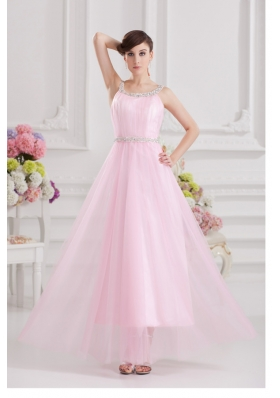 Baby Pink Straps Empire Tulle with Beading Prom Dress
