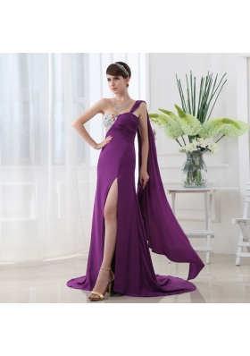 Empire Eggplant Purple Prom Dress with Watteau Trian Strain and Beading Ruching