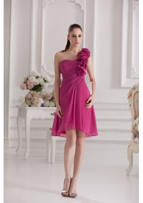 Empire One Shoulder Hand Made Flowers Ruching Fuchsia Dress Prom