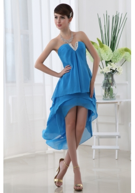 Empire Teal Blue Strapless Ruffled Layers High-low Chiffon Prom Dress