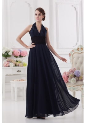 Navy Blue Halter top Long Prom Dress with Ruching and Lace
