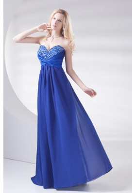 Royal Blue Sweetheart Beading and Ruching Prom Dress with Long
