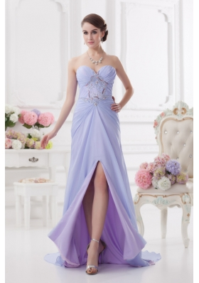 Sweetheart Brush Train Lavender Prom Dress with Ruching and Beading