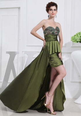 Sweetheart High-low Beading Ruching Taffeta Olive Green Prom Dress