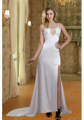 2014 Column Straps Wedding Dresses with Brush Train