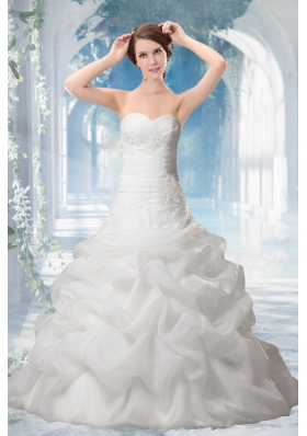 2014 Elegant Princess Sweetheart Wedding Dresses with Appliques