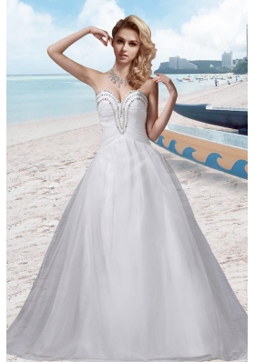 A Line Beading Sweetheart White Wedding Dress for 2014