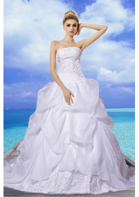 Brand New A Line Strapless Appliques Wedding Dresses with Court Train