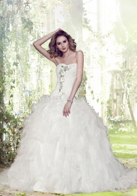 Gorgeous Ball Gown Court Train Beading Wedding Dresses with Sweetheart