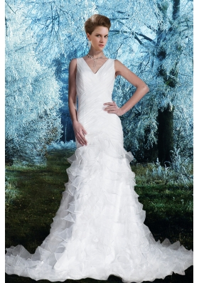 Gorgeous Column V Neck Court Train Wedding Dresses with Ruching