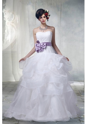 Lace Sweetheart Hand Made Flower Wedding Dresses with Appliques